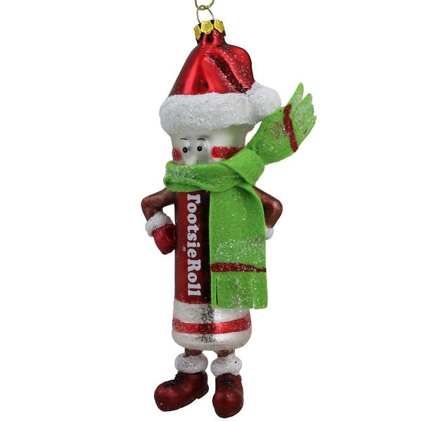 "6"" Candy Lane Tootsie Roll Original Chewy Chocolate Candy Glass Christmas Ornament - brown"