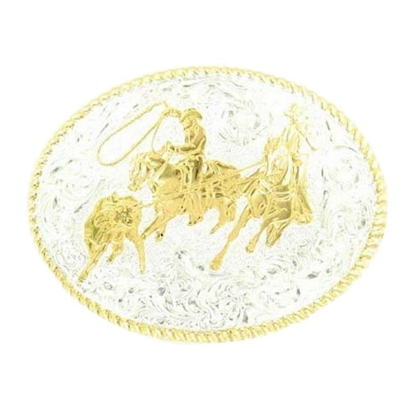 Crumrine Western Belt Buckle Rodeo Team Roper Rope Silver Gold - 3 1/2 x 4 1/2