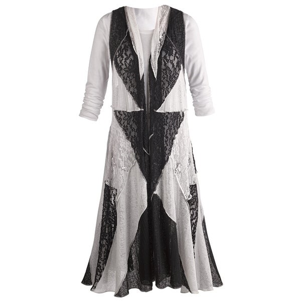 Women's Maxi Dress Vest - Lace Duster Geometric - Black/White