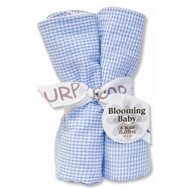 Trend-Lab 102132 Bouquet 4Pk Burp Cloth- Blue Seersucker