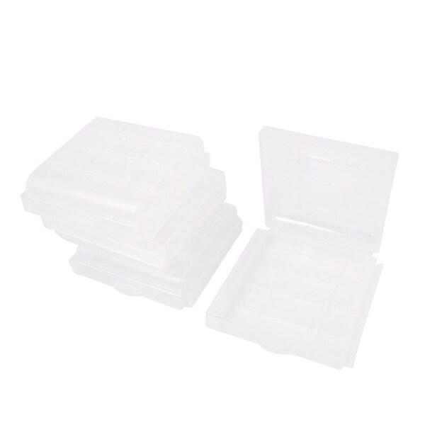 Unique Bargains 4 Pcs Clear Plastic Storage Box Case Holder for AA AAA Batteries