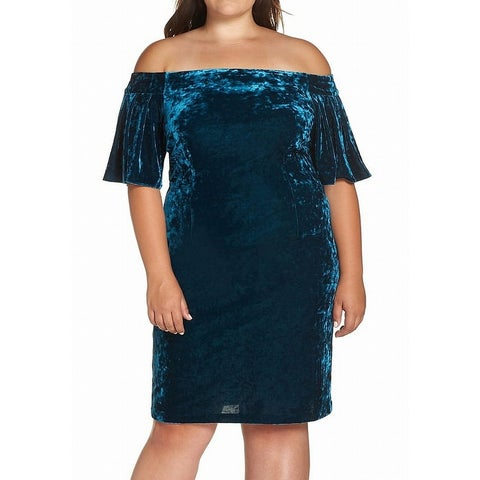 Eliza J Blue Womens Size 16W Plus Off-Shoulder Velvet Sheath Dress