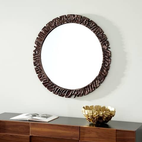 "Large Round Wall Mirror with Textured Gunmetal Frame, 40"" X 40"" - 40 x 2 x 40Round"