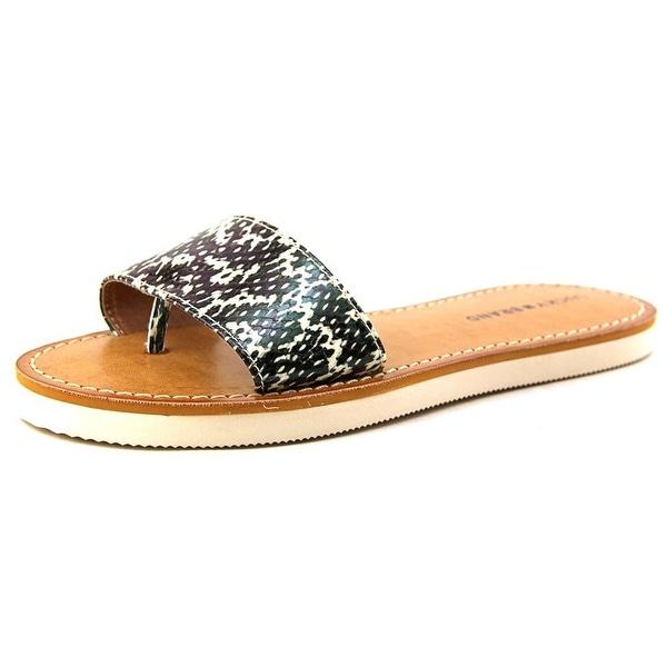 Lucky Brand Deldonna Women Open Toe Canvas Black Slides Sandal