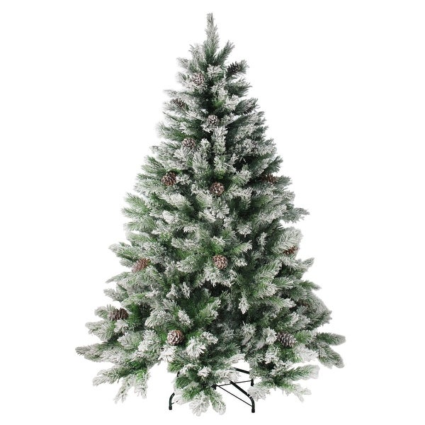 Artificial Christmas Tree With Pine Cones: 7' Flocked Angel Pine With Pine Cones Artificial Christmas