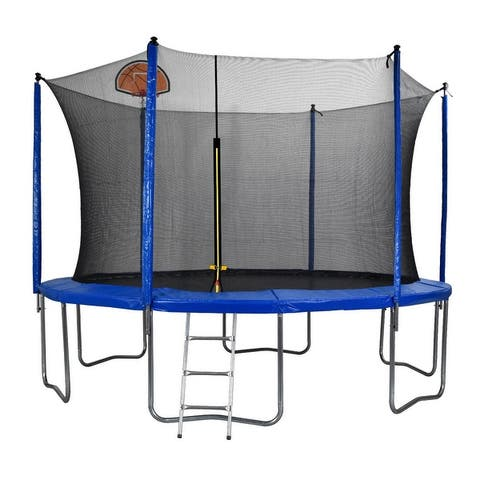 12 FT Trampoline, with Safety Enclosure Net, Basketball Hoop and Ladder