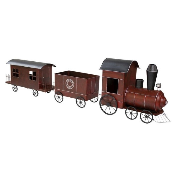 "80"" Maroon Christmas Express Train with Silver Accents - RED"