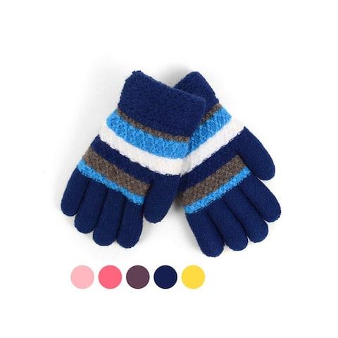 Children's Tri-Color Striped Fleece Lined Winter Gloves
