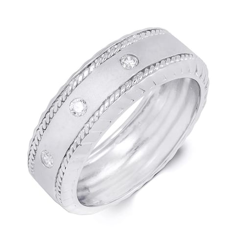 8mm Sterling Silver 0.10 Carat Comfort Fit Mens Wedding Band Ring