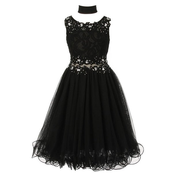 c763b2f5a34 Shop Girls Black Lace Mesh Rhinestone Wired Flower Girl Dress 8-16 - Free  Shipping Today - Overstock.com - 18168904