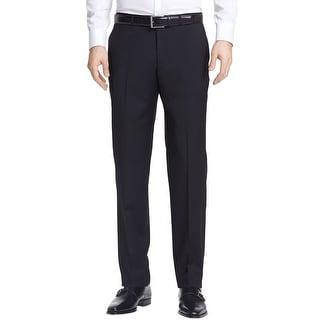 Ralph Lauren Big and Tall Regular Fit Flat Front Dress Pants Black 42 x 30