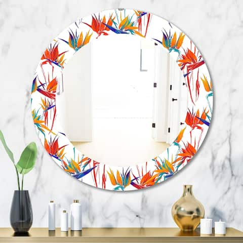 Designart 'Tropical Mood Bright 2' Bohemian and Eclectic Mirror - Oval or Round Wall Mirror - White