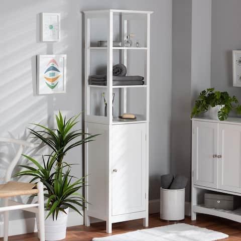 Beltran Modern White Finished Wood Bathroom Storage Cabinet