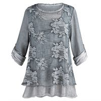 Women's Night Gardens Tunic and Scarf Set - Sheer Gray Roll-Tab Sleeves
