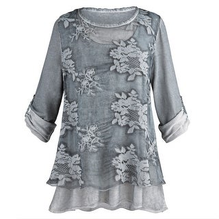 Women's Night Gardens Tunic and Scarf Set - Sheer Gray Roll-Tab Sleeves (More options available)