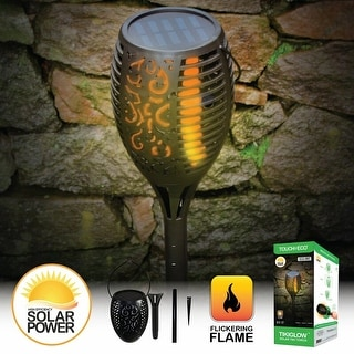 Solar Powered Flame-less LED Torch Light - Black