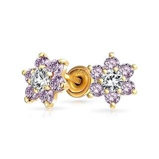 Bling Jewelry 14k Gold Purple CZ Flower Baby Safety Studs Earrings