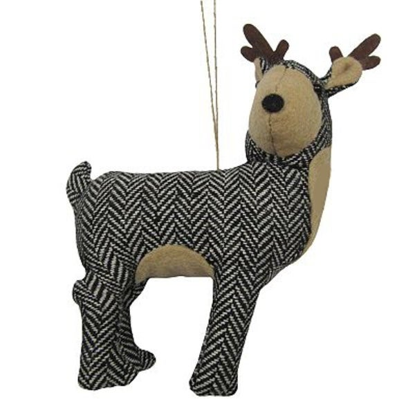 "6.25"" Black and White Herringbone Plush Reindeer with Antlers Christmas Figure Ornament"