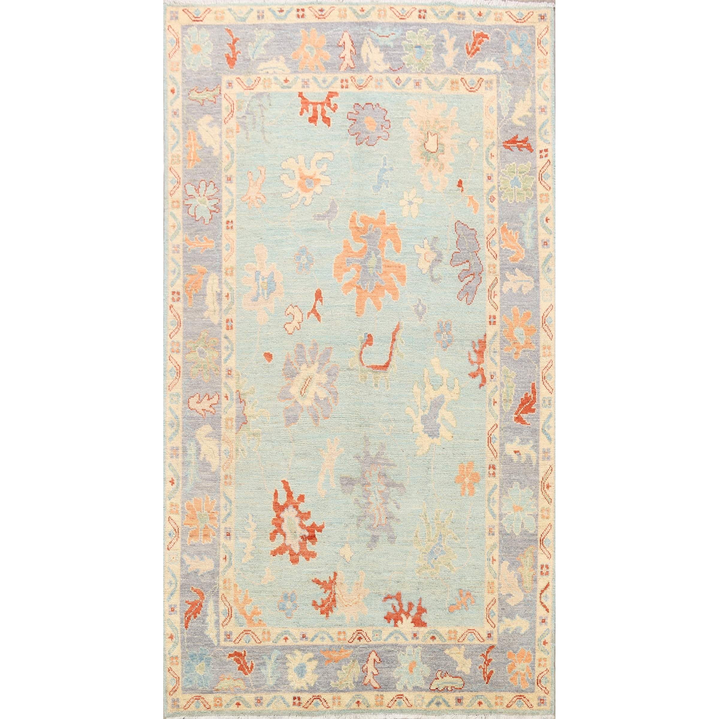 Floral Authentic Oushak Oriental Light Blue Area Rug Wool Hand Knotted 6 0 X 9 0 On Sale Overstock 32033184
