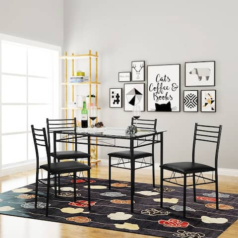 VECELO Glass Dining Table Sets with 4 Chairs Kitchen Table sets