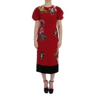 Dolce & Gabbana Dolce & Gabbana Red Wool Dwarf Crystal SICILY Dress - it40-s
