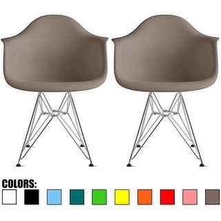 2xhome Set Of Two (2) Eames Dining Room Arm Chair With Metal Wire Eiffel Style Legs