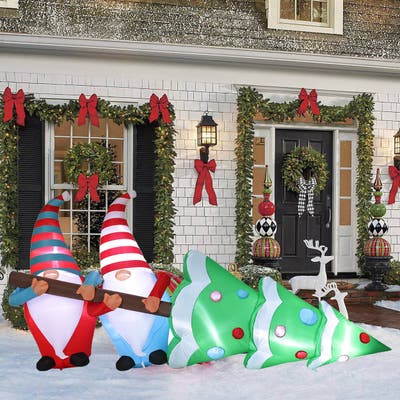 """Lighted 8ft Gnome Elves with Tree Inflatable - 46.46"""" H x 105.12"""" W x 22.83"""" D"""
