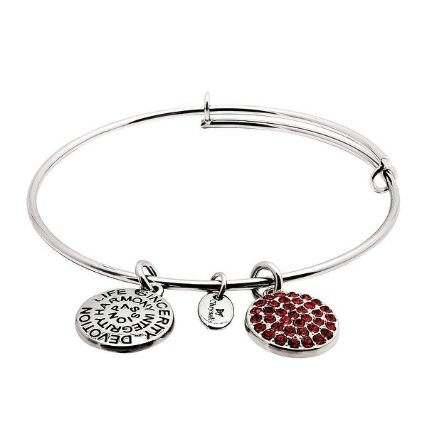 Chrysalis Expandable July Bangle Bracelet with Red Swarovski Elements Crystals in Rhodium-Plated Brass