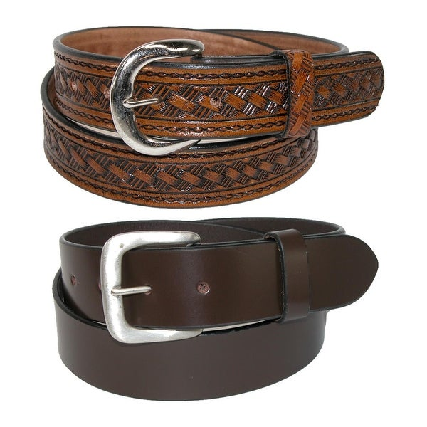 CTM® Men's Leather 1 3/8 Inch Removable Buckle Belts (Pack of 2)