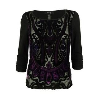 Style & Co. Women's Velvet Trim Scoop Neck Top