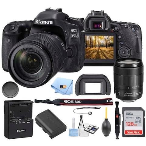 Canon EOS 80D Camera Accessory Kit W/ 18-135 mm Lens + 128GB