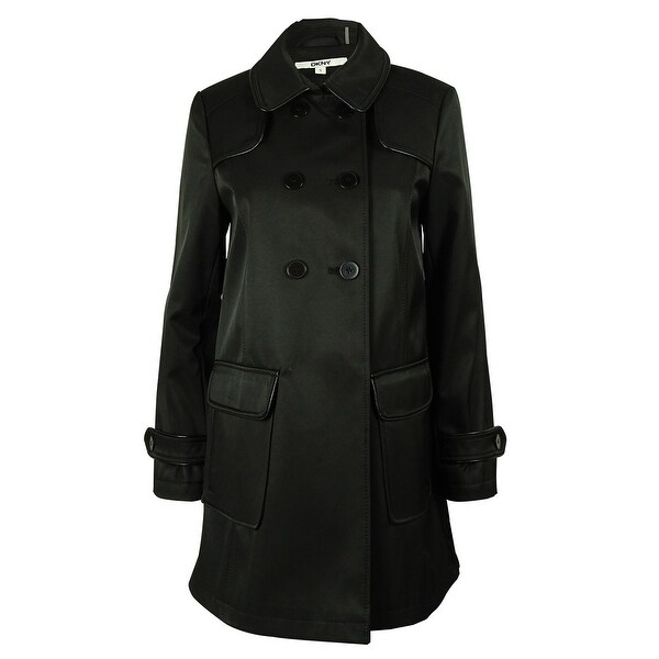 DKNY Women's Double Breasted Coat - Black