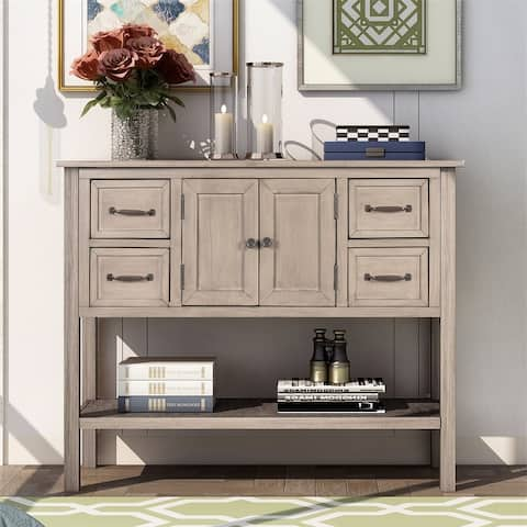 Merax 43'' Modern Console Table with 4 Drawers, 1 Cabinet and 1 Shelf