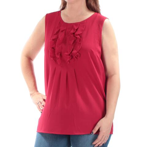 TOMMY HILFIGER Womens Red Ruffled Sleeveless Jewel Neck Top Size: L