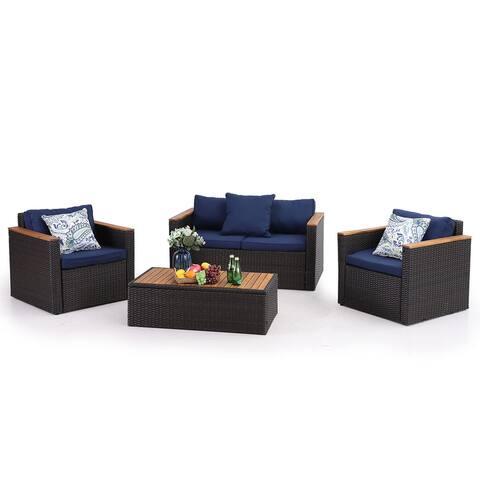 PHI VILLA 4-Piece Outdoor Rattan Sectional Sofa Set with Acacia Wood Coffee Table Conversation Patio Wicker Sofa & Table Set
