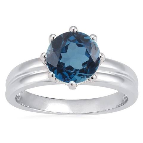 Sterling Silver with Natural London Blue Topaz Solitaire Ring