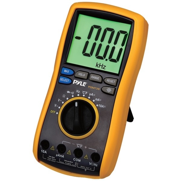 PYLE PRO PDMT38 Digital LCD AC, DC, Volt, Current, Resistance & Range Multimeter with Rubber Case, Test Leads & Stand