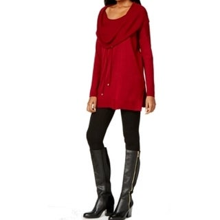 Cable & Gauge NEW Red Women's Size XL Tunic Cowl-Neck Solid Sweater
