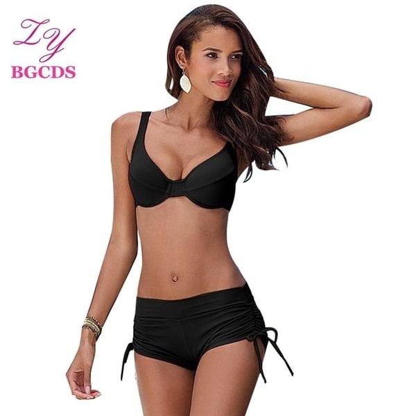 273a837d3f598 Swimwear Women Bikini Set Shorts Swimsuit Bandage Swimming Suit for Women  hot Swim Beachwear Biquini Push