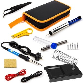 Electric Soldering Iron Tool Kit with Carry Case 110V 60W Adjustable Temp 10in1