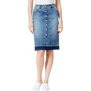 Jag Jeans Womens Hazel Denim Skirt Released Hem Button Front
