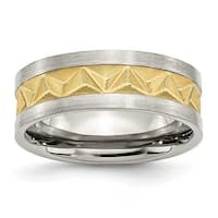 Chisel Stainless Steel Satin and Gold Plated Mens 8mm Band