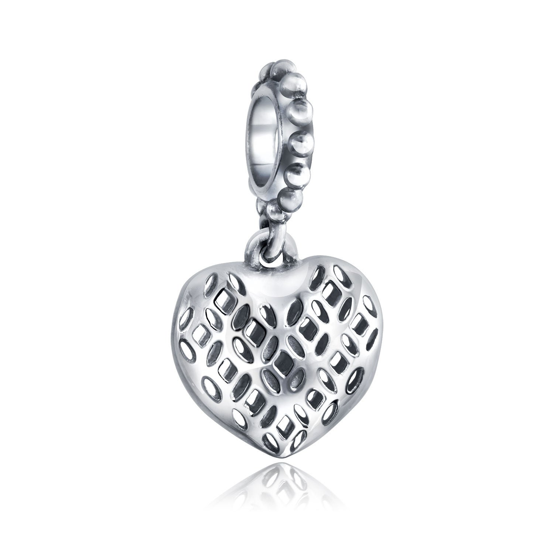 925 Sterling Silver Filigree Heart Charm