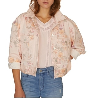 Link to Sanctuary Womens Jacket Pink Size XS Denim Cropped Floral Printed Similar Items in Women's Outerwear