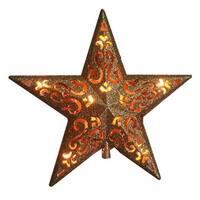 V49136 10 Light Gold Glitter Star Tree Topper
