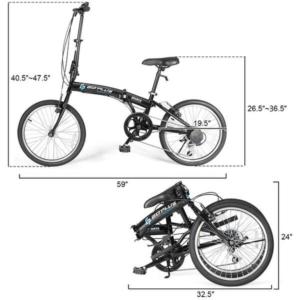 "20/"" 7-Speed Folding Bicycle Bike Adult Kids Lightweight Iron Frame Dual V-Brakes"