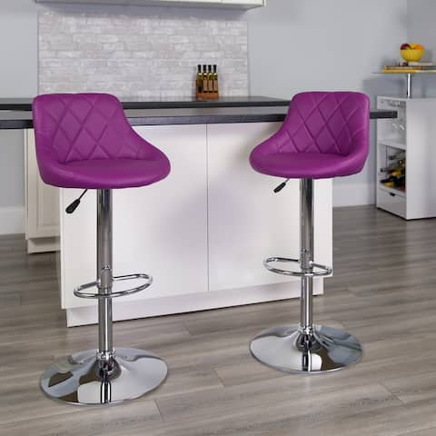 "2PK Bucket Seat Adjustable Height Barstool - Diamond Pattern Back - 18.50""W x 19""D x 33.25"" - 41.75""H"
