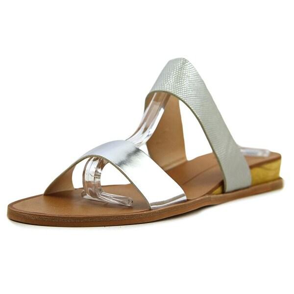 39aa4175f03 Shop Dolce Vita Pris Women Open Toe Leather Silver Slides Sandal ...