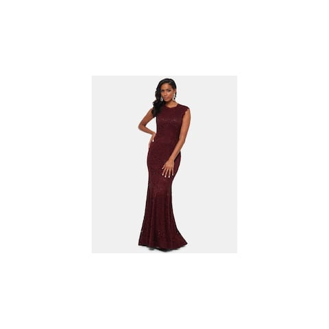 BETSY & ADAM Burgundy Sleeveless Maxi Sheath Dress Size 2