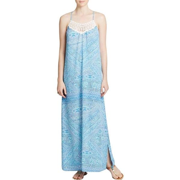 Aqua Womens Maxi Dress Crochet Front Printed